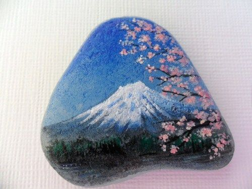 Miniature Art Hand Painted Sea Glass Mount Fuji Cherry Blossom Japan Landscape Modern Design Miniature Art Stone Art Painted Rocks