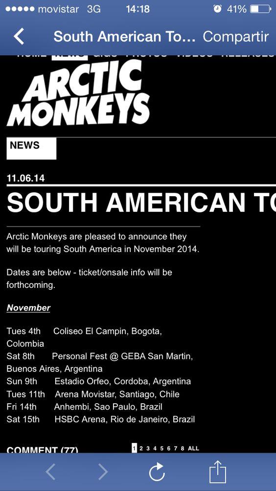 #arcticmonkeys #chile #sudamerica #noviembre #rock #concert