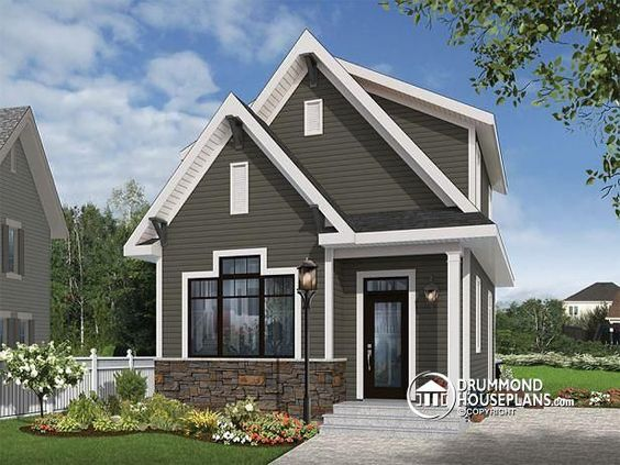NEW COUNTRY MODERN TINY HOME DESIGN  Country small and affordable starter home, 2 to 3 bedrooms, 9 foot ceiling, lots of natural lights   http://www.drummondhouseplans.com/house-plan-detail/info/melia-country-1001170.html
