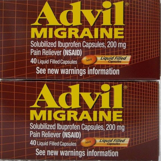 ADVIL MIGRAINE ibuprofen pain relief liquid capsules, 200 mg, 80 ct, 2 bottles Keep them on hand for that first warning sign of a migraine.  #Advil