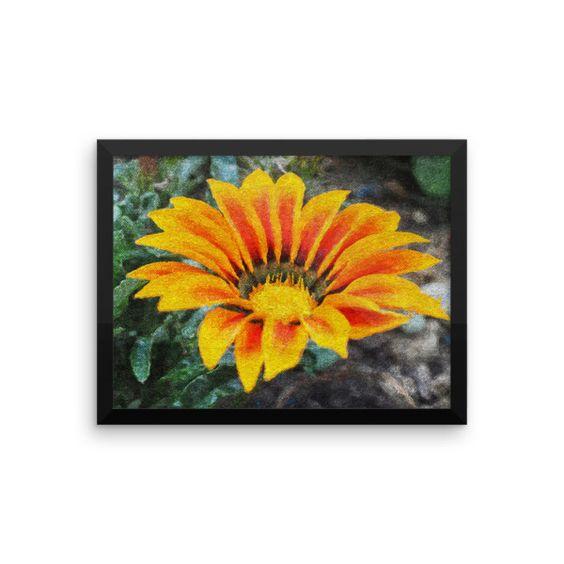 Yellow Orange Open Flower Framed Art