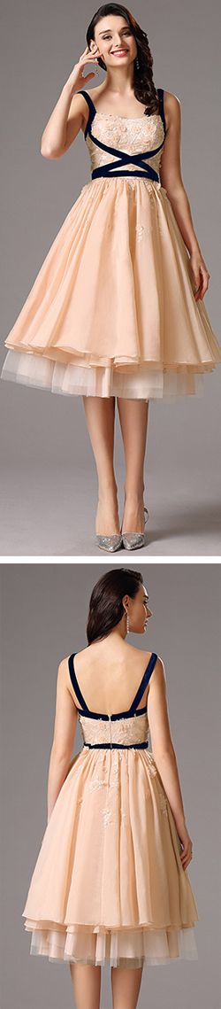 sweet peach layered tea length prom dress