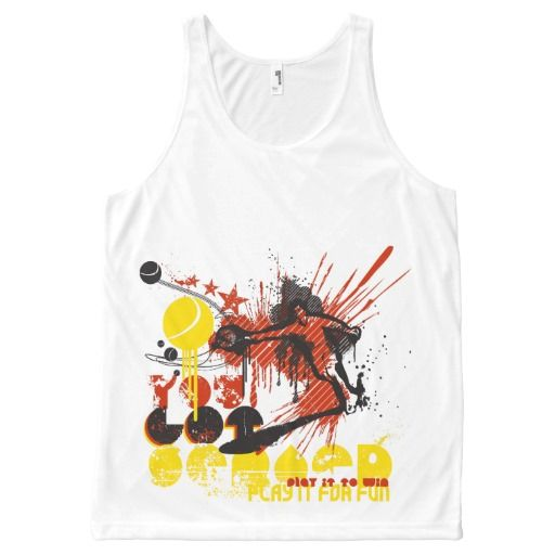 red illustrated tennis sport logo All-Over print tank top Tank Tops