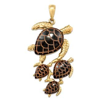 maui divers black coral turtle pendant in 14k yellow gold