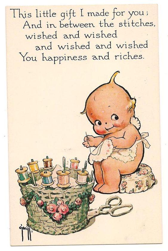Kewpie sewing postcard