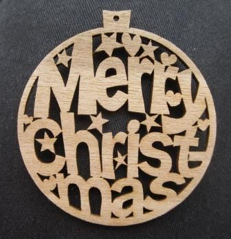 Easy tree decorations for laser cutter. Interesting layout, and nice use of hearts and stars to connect the letters together.