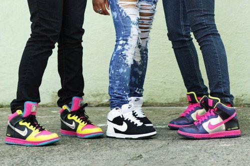 nike girl high top street shoes