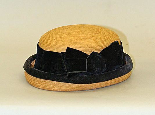 American straw and velvet hat ca. 1868