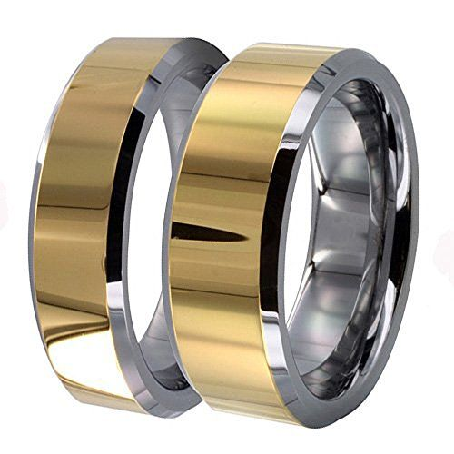 Men & Ladie's 8MM/6MM Two Tone Gold Shiny Center & Beveled Edges Tungsten Carbide Wedding Band Ring Set tungsten jeweler http://www.amazon.com/dp/B012YH0QNW/ref=cm_sw_r_pi_dp_CUqzwb06TFBSH
