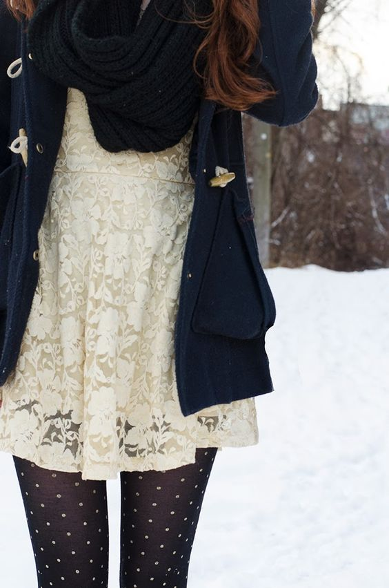 Winterize a white summer lace dress with a chunky navy cardigan and cozy polka dot tights
