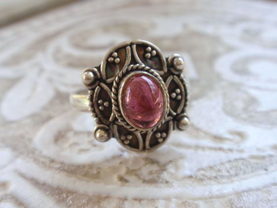 Sterling Silver Cabochon Ring with pink stone