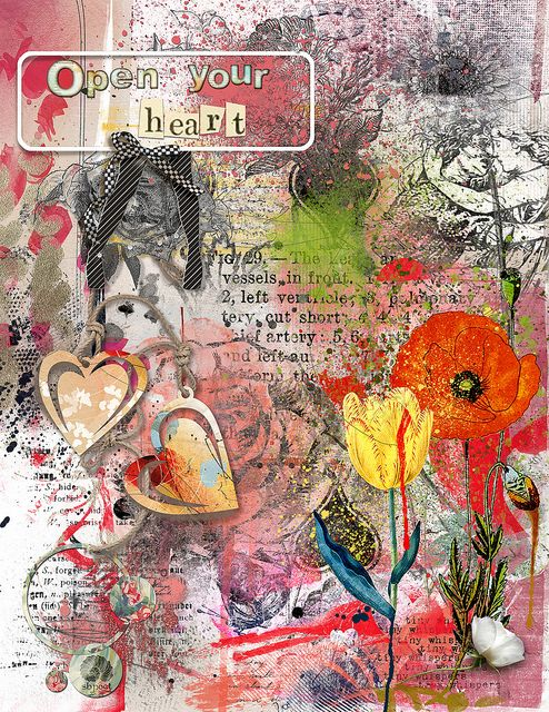 Open Your Heart | Flickr - Photo Sharing!  For Sissy Sparrows Birthday Party: C o c k t a i l -- Art Journal Lift challenge @ ScrapBookGraphics.  Elements from ViVa Artistry, Sissy Sparrows, Dido Designs, Anna Aspnes, and Studio 68.