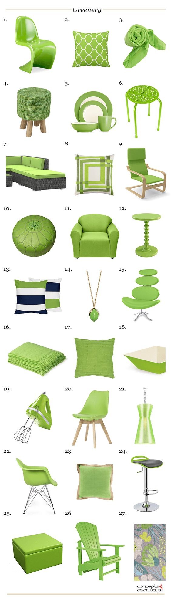 pantone greenery, interior product roundup, 2017 color trends, bright green, spring green, lime green, apple green, bright green:
