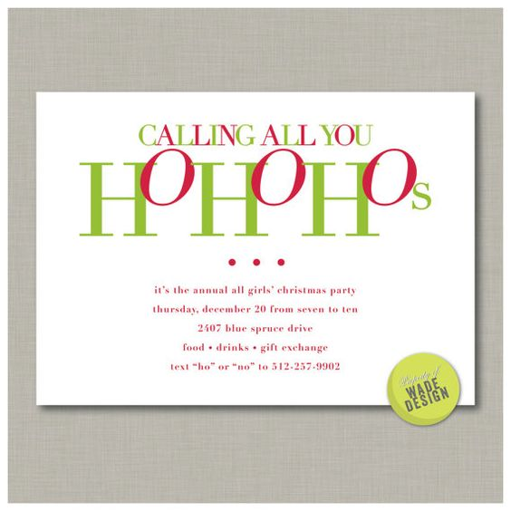 Christmas Party Invitation Quotes: Christmas Party For Your Girlfriends Invitation: Digital