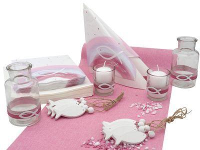 Tischdeko Kommunion Konfirmation Taufe Pink Rosa Weiß Fisch