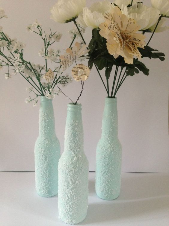 Frosty bottles, Christmas decoration, Home Decor, Recycled bottles