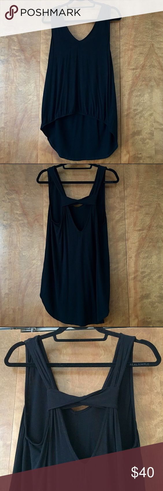Michael Stars // High Low Tank Black loose fitting high low tank, low back, worn twice, no signs of wear, Size OS  🚫 No Trades  🌟 Bundle for a 10% discount Michael Stars Tops Tank Tops