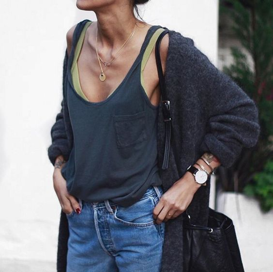 The {parker} tank in charcoal on mega babe Pepa Mack: