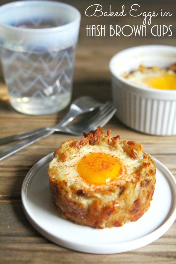 Baked Eggs in Hash Brown Cups - muffin tin recipe