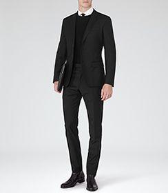 Mens Black Slim-fit Blazer - Reiss George B