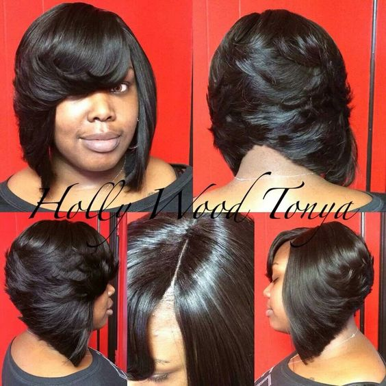 Superb Bobs Full Sew In And Sew Ins On Pinterest Short Hairstyles Gunalazisus