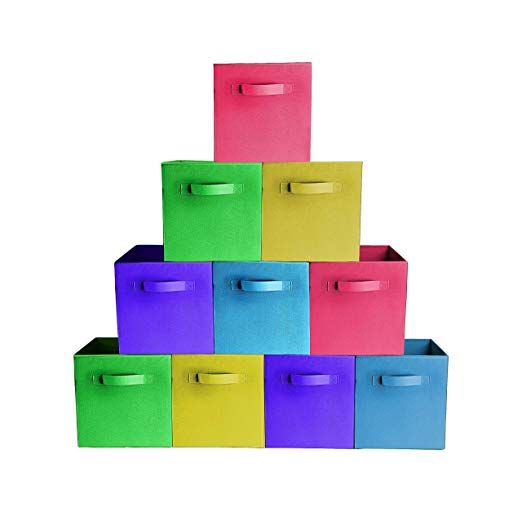 10 Pack Bright Mix Colors Durable Storage Bins Containers Boxes Tote Baskets Collapsible Collapsible Storage Cubes Toy Storage Fabric Storage Solutions