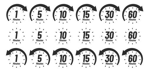 Minutes Time Icon Analog Clock Icons 1 5 10 15 30 60 Minute Clocks And Minutes Ago Work Deadline Arrow Delivery Fast Meas In 2020 Clock Icon Time Icon Analog Clock