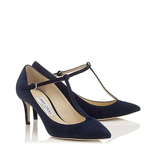 d179f4f1bf9 Daria 65 Pointy Toe T-Strap Pumps in Navy Suede. Discover our Cruise 17  Collection and shop the latest trends today.