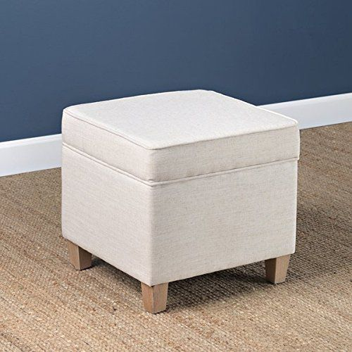 Midcentury Modern Natural White Small Square Storage Ottoman Made