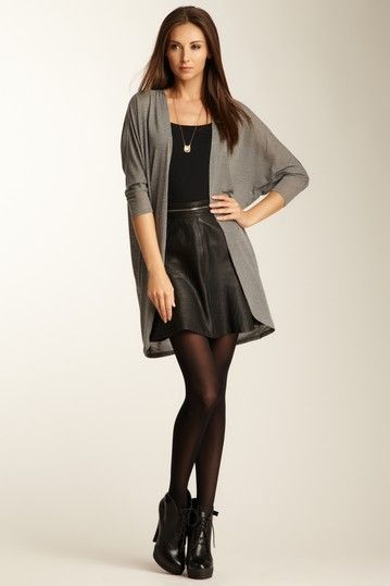 Long Jersey Cardigan + Skirt + Heeled Brogue Shoes