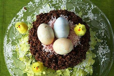 Chocolate Macaroon Bird's Nests for Easter. Get the recipe here: http://easyrecipesfromscratch.com/macaroon-easter-nes-recipe/
