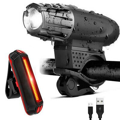 Rear Tail Lights Set Bright LED Bicycle Bike Front Headlight USB Rechargeable