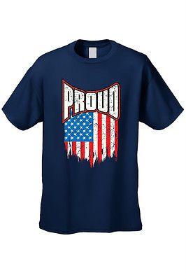 Men's T-Shirt Proud American Distress Flag Patriotic USA Stars & Strips TEE S-5X