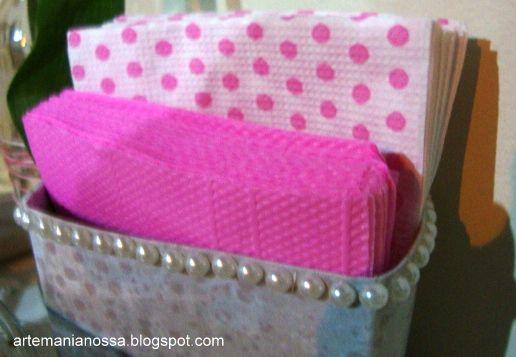 Porta guardanapo feito de caixa de leite longa vida