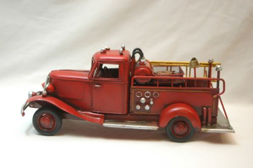 Vintage Metal Fire Truck Antique Red Rustic Fire Engine Old