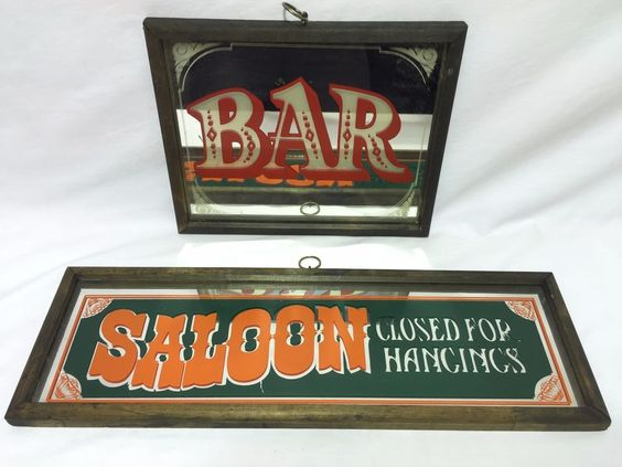 Western Man Cave Signs : Saloon closed for hangings bar mirror sign quot x man