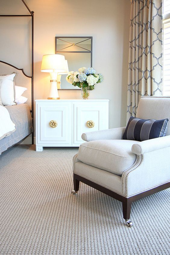 Neutral bedroom, carpet canopy bed, Hickory Chair nightstand chest cabinet