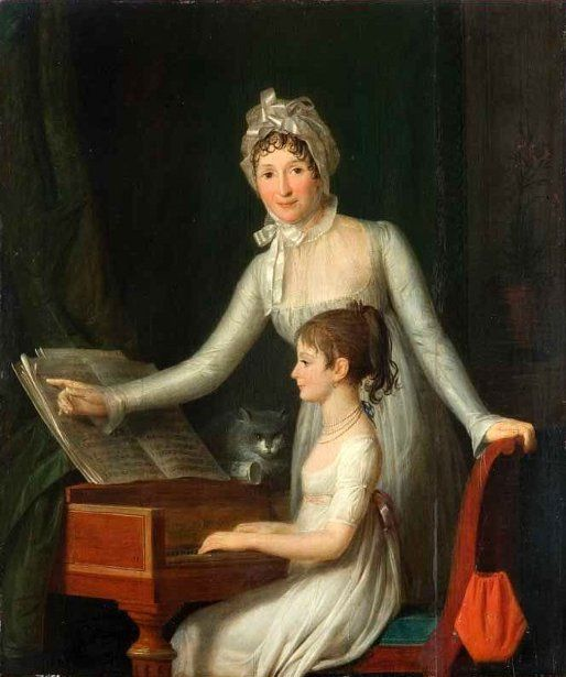 """La leçon de piano"". Jean-François Garneray (1755 – 1837), French painter."