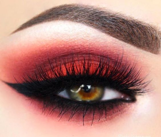 Vibrant red eye makeup, different!