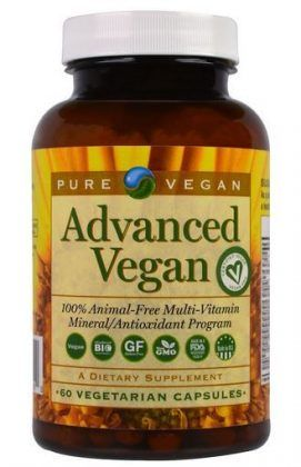 Pure Vegan Advanced Vegan 60 Veggie Caps Found on https://www.veganproductfinda.com/supplements/multivitamin