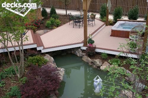 beautiful deck with pond