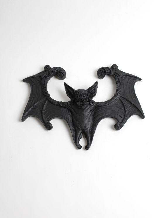 Bat Decor Sculpture in Black - The Luna- Black Resin Batman Decor - Gothic Halloween Home Decor - Resin Bat Wing Decor White Faux Taxidermy by WhiteFauxTaxidermy on Etsy https://www.etsy.com/au/listing/289005727/bat-decor-sculpture-in-black-the-luna