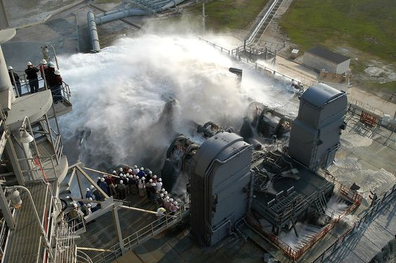 Sound suppression water system test at KSC Launch Pad 39A - Mobile Launcher Platform – Wikipedia