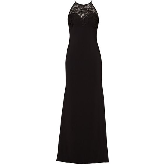 Rental Badgley Mischka Black Lace Tyler Gown ($95) ❤ liked on Polyvore featuring dresses, gowns, black, lacy dress, badgley mischka evening gowns, sleeveless dress, lace evening dresses and crew neck dress