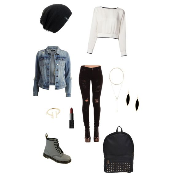 Jean jacket by cheesecake08 on Polyvore featuring polyvore, fashion, style, Theory, VILA, Rivka Friedman, BCBGeneration, Spacecraft, NARS Cosmetics and Dr. Martens