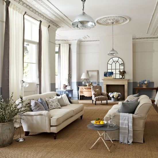 White or cream low backed sofa and cover it with throws and cushions in duck egg blue - Deco lounge blue duck ...