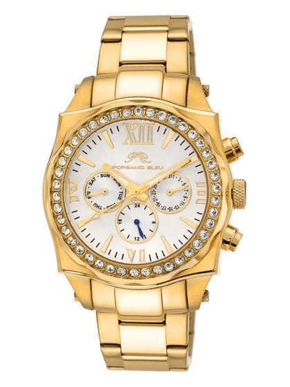 Unisex Gold, Crystal, & White Watch by Porsamo Bleu at Gilt