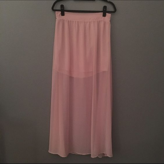 Sheer Blush Maxi Skirt I'm kicking myself for even posting this gorgeous skirt! It's feminine and edgy at the same time and is neutral enough to pair with anything! Hurry up and make an offer before I change my mind! Papaya Skirts Maxi
