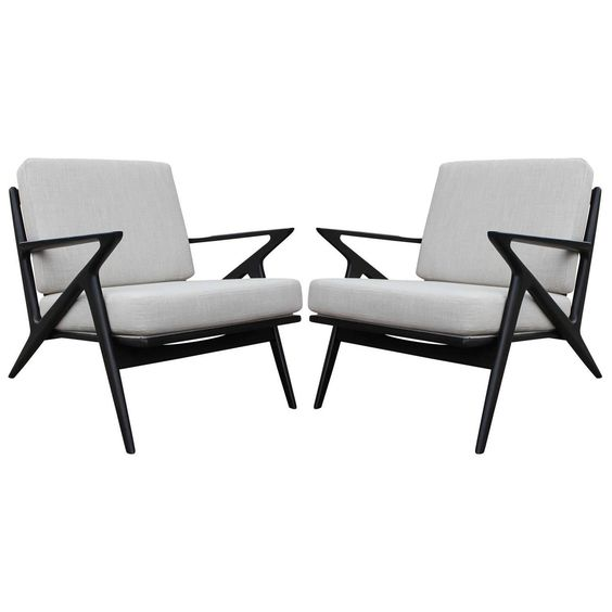 Pair of Poul Jensen for Selig Z Lounge Chairs | From a unique collection of antique and modern lounge chairs at https://www.1stdibs.com/furniture/seating/lounge-chairs/