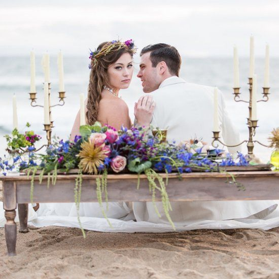 So swooning over the details in this vintage shipwrecked inspired beach wedding styled shoot! Captured by Mehta Weddings.
